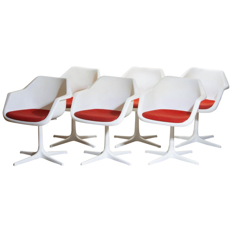 1960 Set Of Six White Swivel Chair By Robin Day For Hille