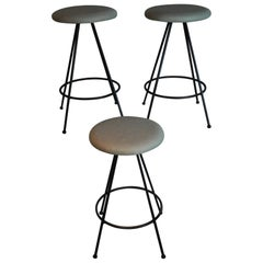 1960 Set of Three MCM Counter Stools