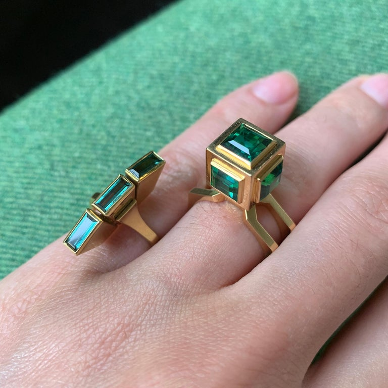 A green tourmaline and 18 karat gold ring, by Swedish sculptor and designer Sigurd Persson, 1960.   This ring is a size 7 and stamped with national control mark, 18k, K9 for 1960, Furnia AB, Stockholm.