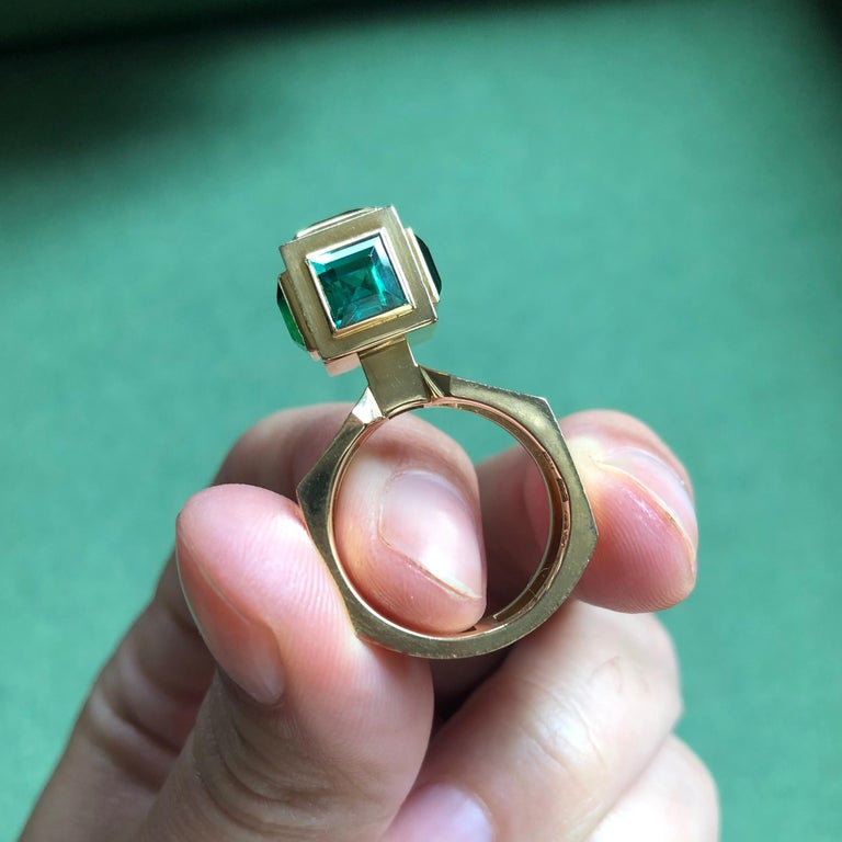 Modernist 1960 Sigurd Persson Green Tourmaline Ring For Sale