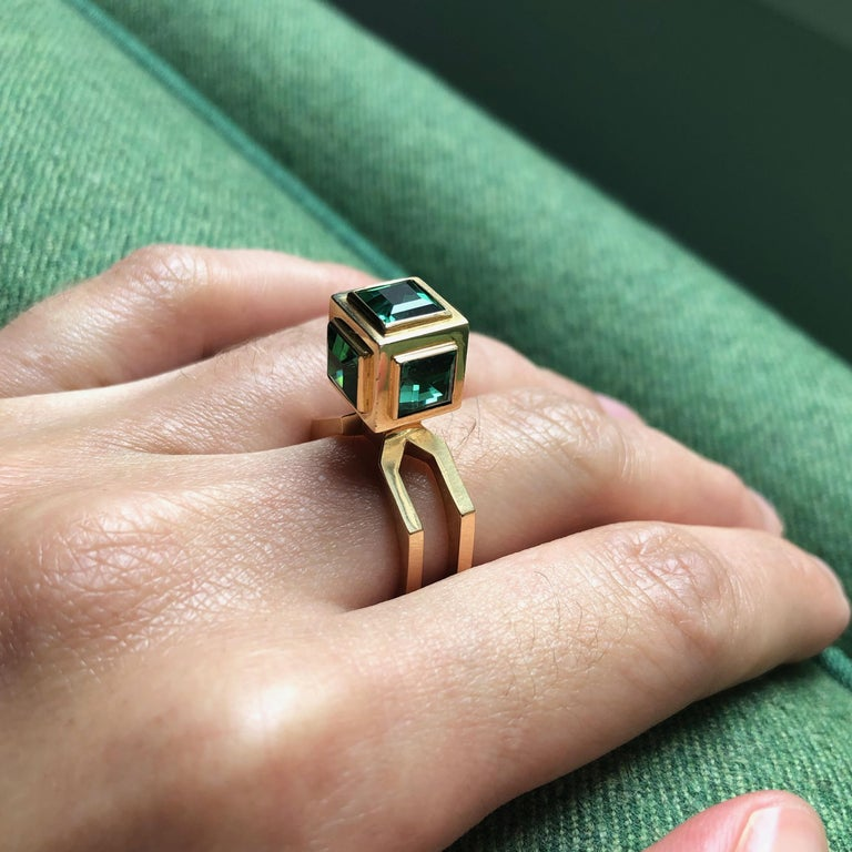 1960 Sigurd Persson Green Tourmaline Ring In Good Condition For Sale In New York, NY