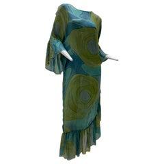 1960 Silk Chiffon Aqua & Green Hand Painted Shift Dress W/ Asymmetrical Ruffles