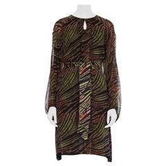 1960 Silk Tribal Printed Long Sleeve Midi  Dress