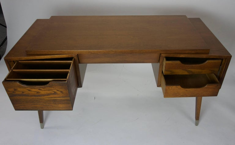 aspect leather desk height top chairish hole width lowry product fit knee sligh vintage