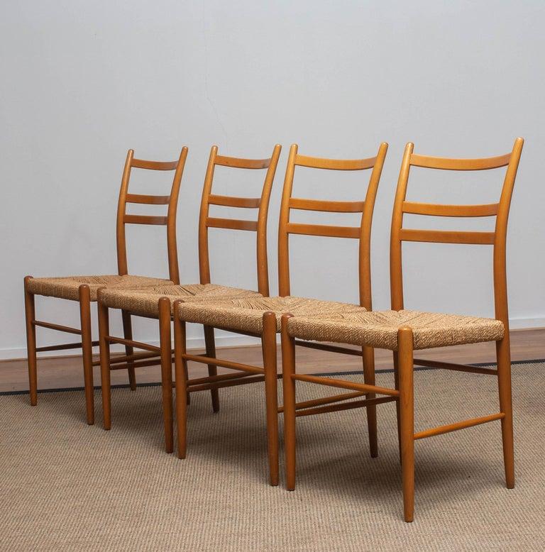 1960 Slim Beech Seagrass Dining Chairs by Yngve Ekström 'Gracell' by Gemla 4