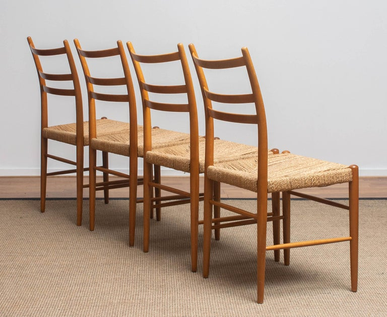 1960 Slim Beech Seagrass Dining Chairs by Yngve Ekström 'Gracell' by Gemla 5