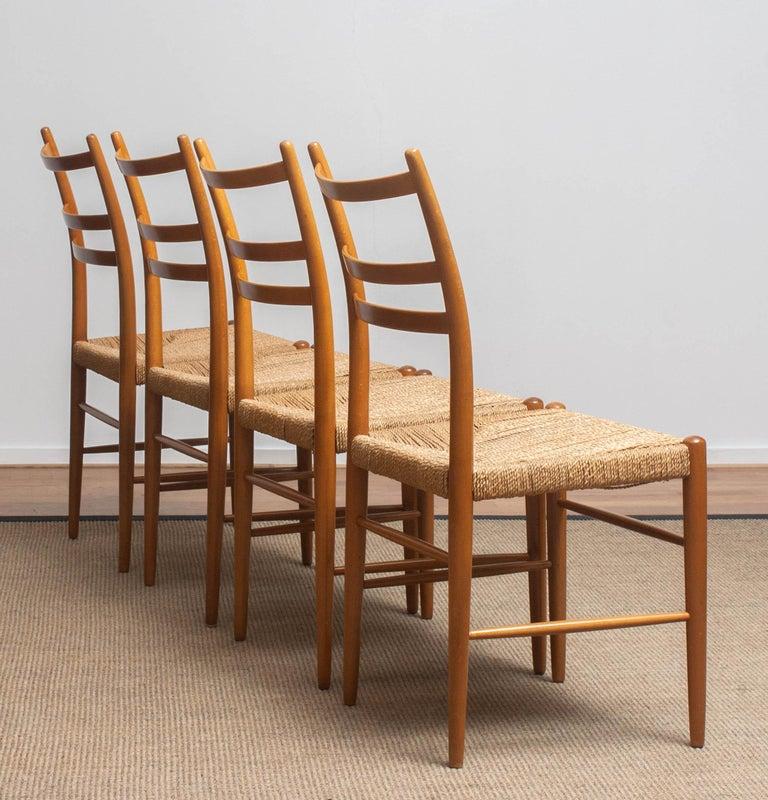 1960 Slim Beech Seagrass Dining Chairs by Yngve Ekström 'Gracell' by Gemla 6