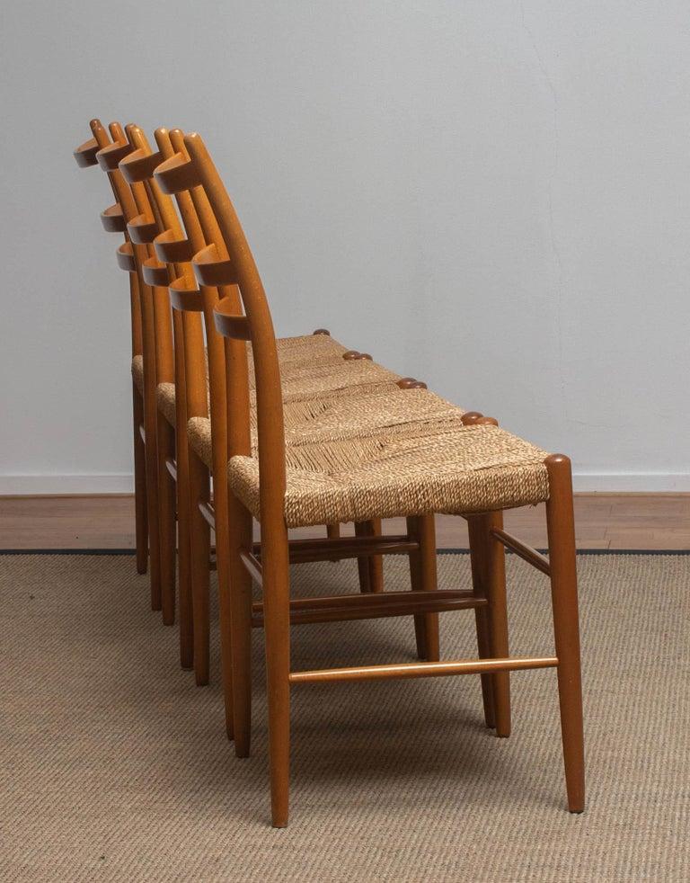 1960 Slim Beech Seagrass Dining Chairs by Yngve Ekström 'Gracell' by Gemla 7