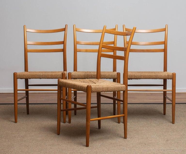 1960 Slim Beech Seagrass Dining Chairs by Yngve Ekström 'Gracell' by Gemla 8