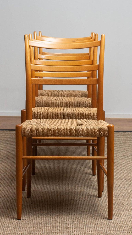 1960 Slim Beech Seagrass Dining Chairs by Yngve Ekström 'Gracell' by Gemla 9