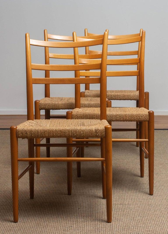 1960 Slim Beech Seagrass Dining Chairs by Yngve Ekström 'Gracell' by Gemla 10