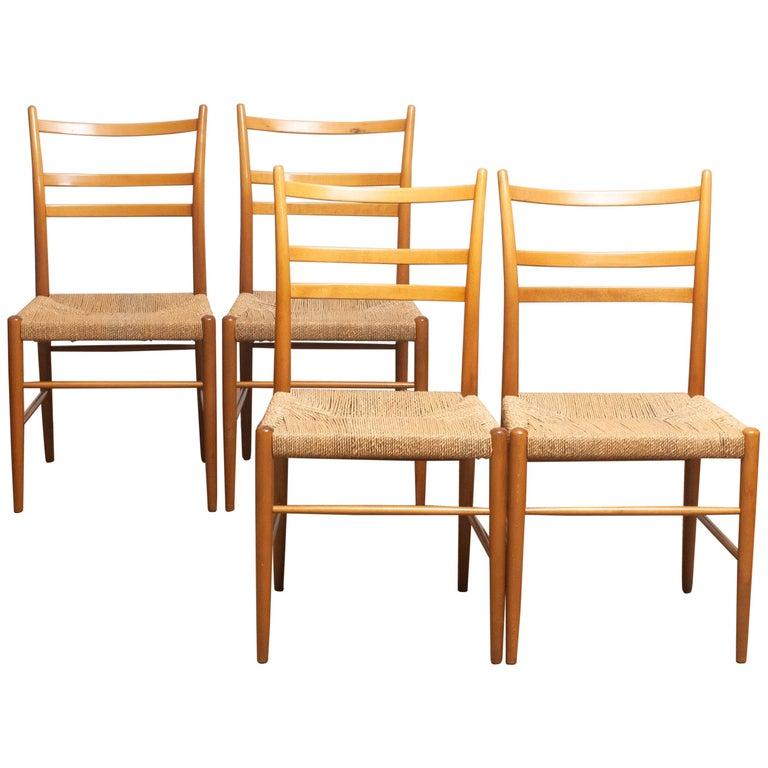 Scandinavian Modern 1960 Slim Beech Seagrass Dining Chairs by Yngve Ekström 'Gracell' by Gemla