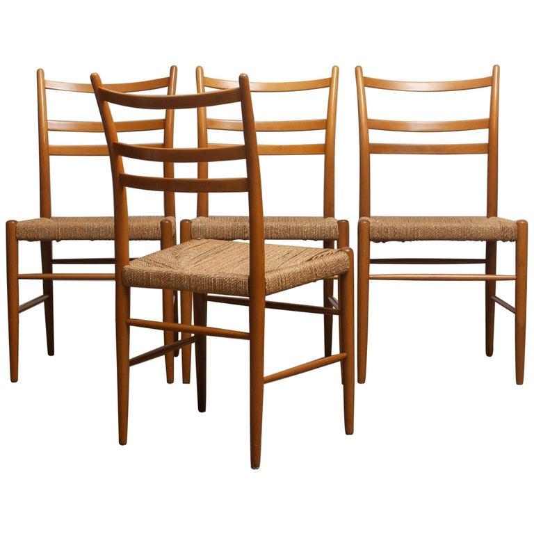 1960 Slim Beech Seagrass Dining Chairs by Yngve Ekström 'Gracell' by Gemla In Good Condition In Silvolde, Gelderland