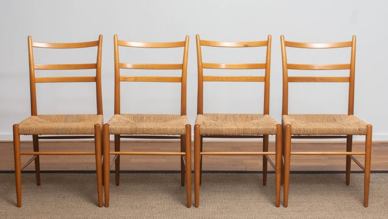 Mid-20th Century 1960 Slim Beech Seagrass Dining Chairs by Yngve Ekström 'Gracell' by Gemla