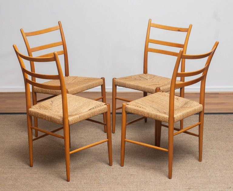 1960 Slim Beech Seagrass Dining Chairs by Yngve Ekström 'Gracell' by Gemla 1