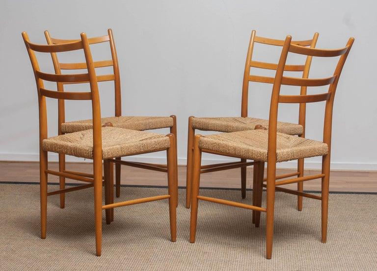 1960 Slim Beech Seagrass Dining Chairs by Yngve Ekström 'Gracell' by Gemla 2
