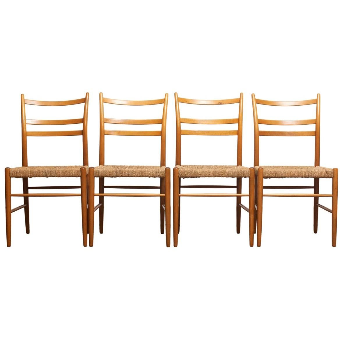 1960 Slim Beech Seagrass Dining Chairs by Yngve Ekström 'Gracell' by Gemla