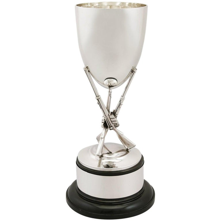 1960 Sterling Silver Rifle Presentation Cup by Robert Pringle & Sons For Sale