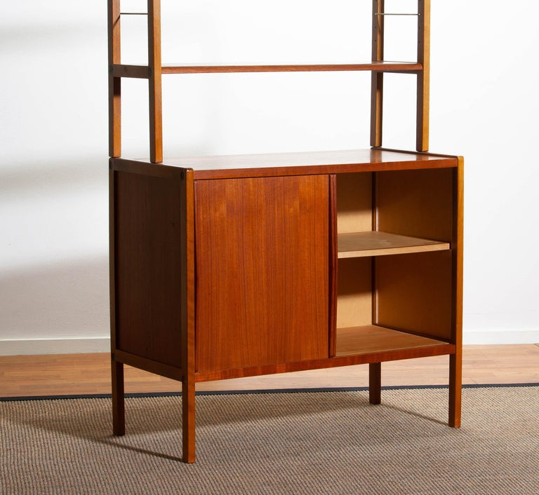 1960, Teak, Brass and Beech Bookcase by Bertil Fridhagen for Bodafors, Sweden For Sale 4