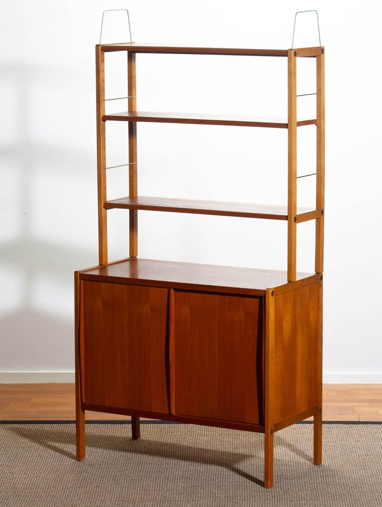 1960, Teak, Brass and Beech Bookcase by Bertil Fridhagen for Bodafors, Sweden For Sale 6