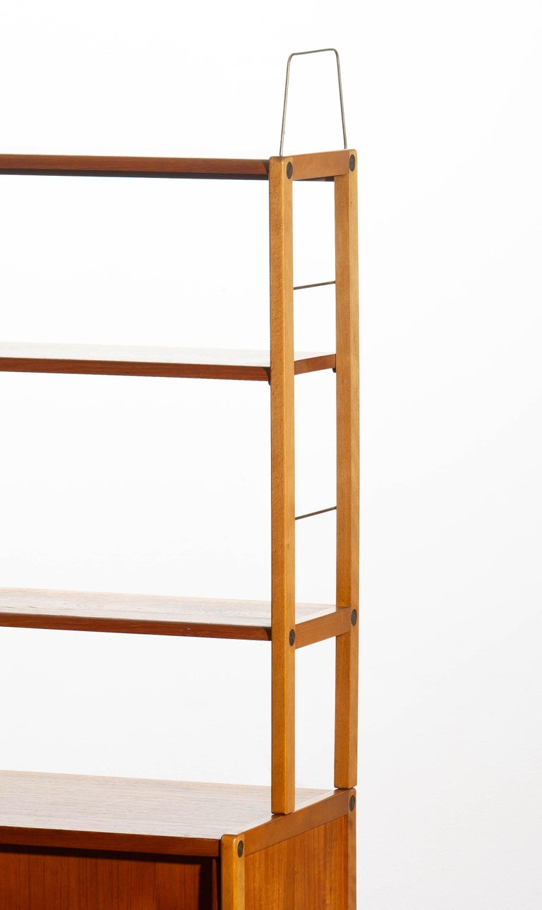 1960, Teak, Brass and Beech Bookcase by Bertil Fridhagen for Bodafors, Sweden For Sale 7