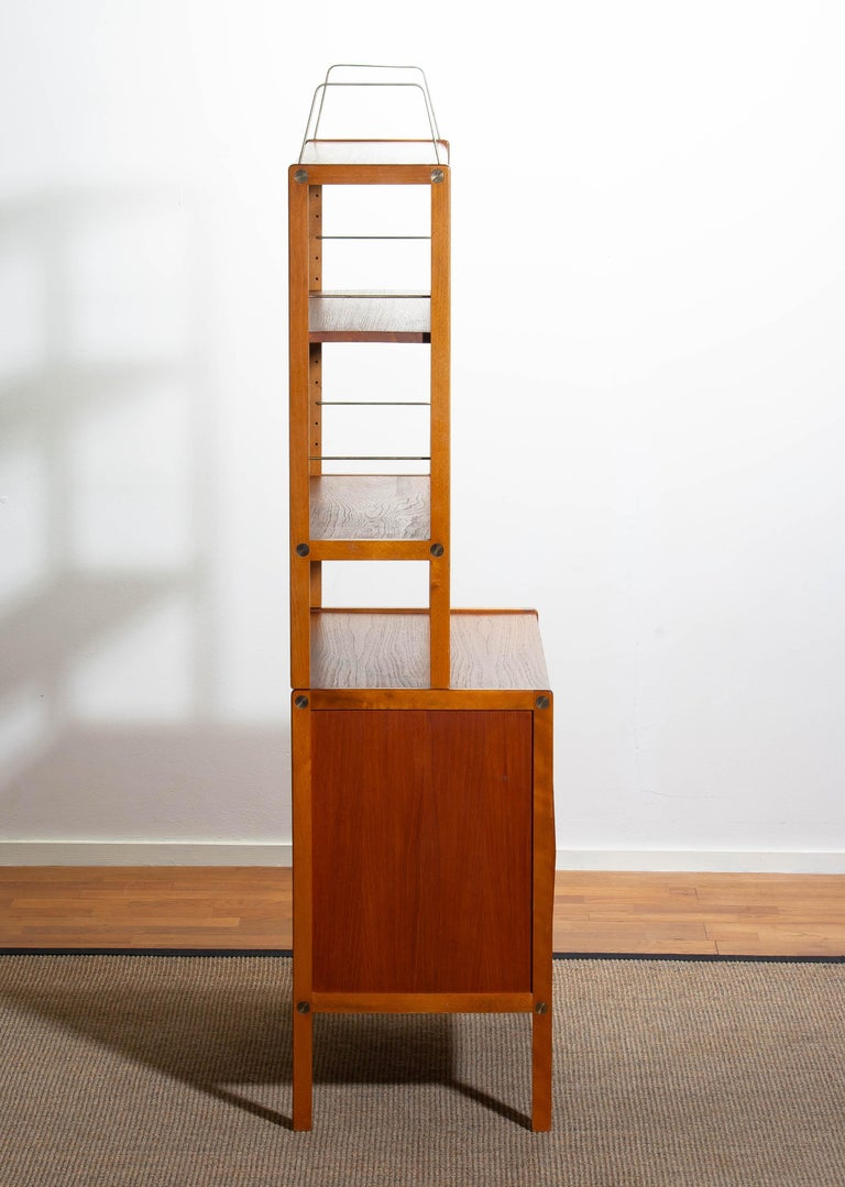 1960, Teak, Brass and Beech Bookcase by Bertil Fridhagen for Bodafors, Sweden For Sale 9