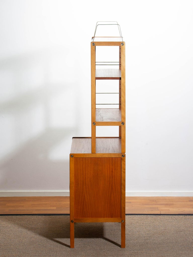 1960, Teak, Brass and Beech Bookcase by Bertil Fridhagen for Bodafors, Sweden For Sale 10