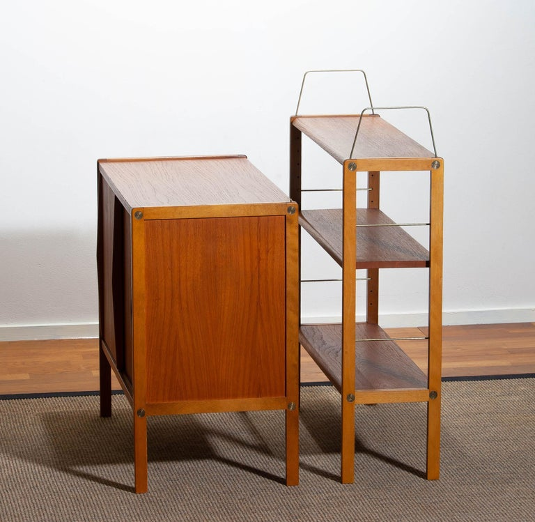 1960, Teak, Brass and Beech Bookcase by Bertil Fridhagen for Bodafors, Sweden For Sale 11
