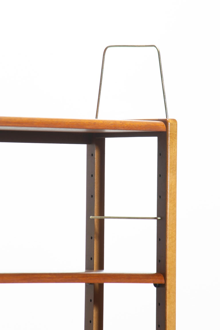 1960, Teak, Brass and Beech Bookcase by Bertil Fridhagen for Bodafors, Sweden For Sale 1