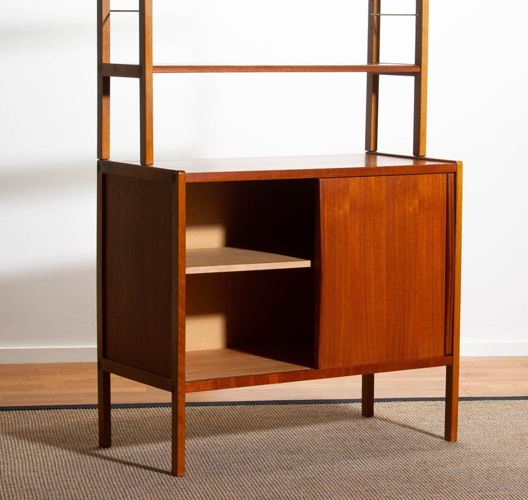 1960, Teak, Brass and Beech Bookcase by Bertil Fridhagen for Bodafors, Sweden For Sale 3