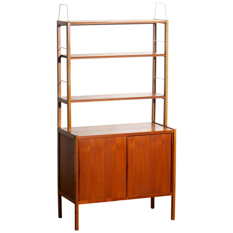 1960, Teak, Brass and Beech Bookcase by Bertil Fridhagen for Bodafors, Sweden For Sale