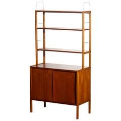 1960, Teak, Brass and Beech Bookcase by Bertil Fridhagen for Bodafors, Sweden