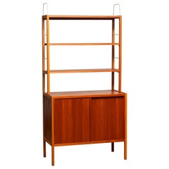 1960, Teak / Oak and Brass Bookcase by Bertil Fridhagen for Bodafors, Sweden