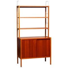 1960, Teak or Oak and Brass Bookcase by Bertil Fridhagen for Bodafors, Sweden