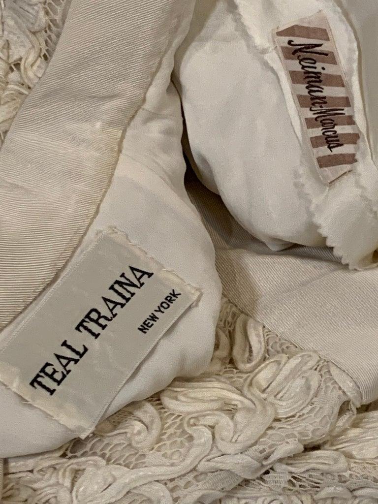 1960 Teal Traina Egg Shell Ribbon Lace Mini Dress W/ Wide Grosgrain Trim Size 4 For Sale 10