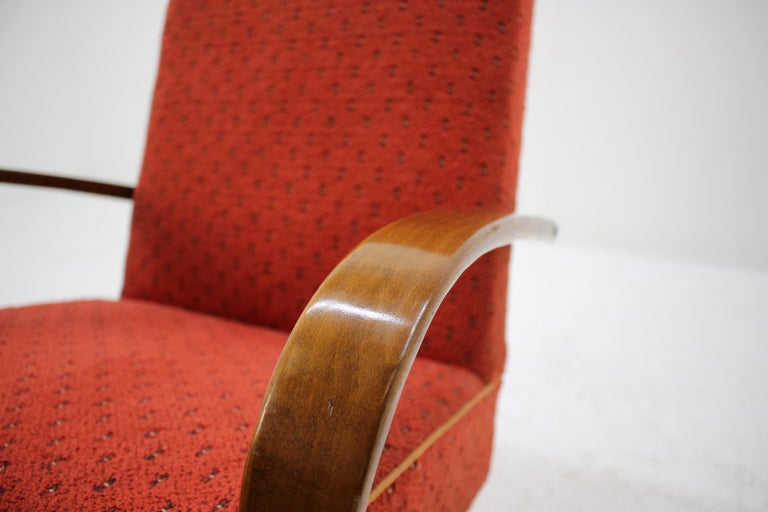 Fabric 1960 Thon or Thonet Bentwood Lounge Chair For Sale