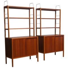 1960, Two Teak / Oak / Brass Bookcases by Bertil Fridhagen for Bodafors Sweden