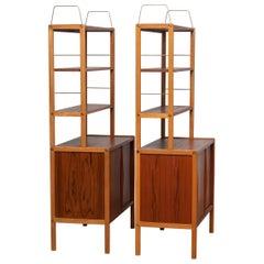 1960, Two Teak / Oak / Brass Bookcases by Bertil Fridhagen for Bodafors, Sweden