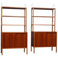 1960, Two Teak / Oak / Brass Bookcases by Bertil Fridhagen for Bodafors, Sweden