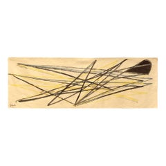 1960 Unique Piece Tapestry by French Artist Emile Gilioli, Abstract Design