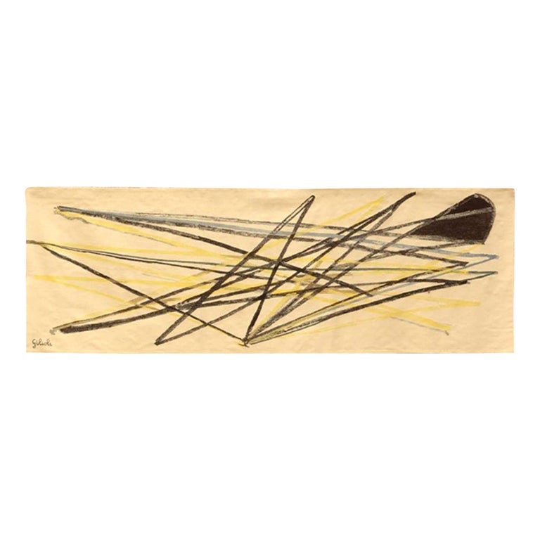 1960 Unique Piece Tapestry by French Artist Emile Gilioli, Abstract Design For Sale