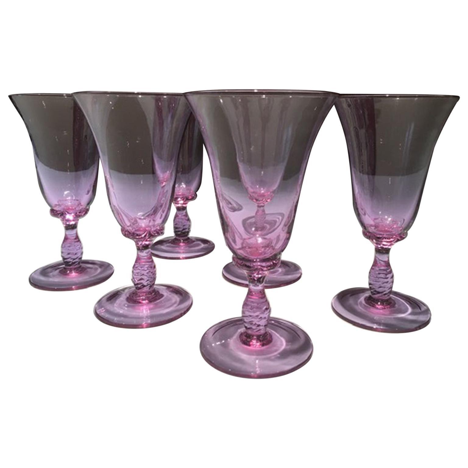 1960 Venice Italy Set 6 Murano Purple Glasses Blown Glass