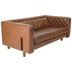 1960 Vico Magistretti for Cassina Leather Modernist Chesterfield Sofa