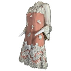 1960 Werle Nude Illusion & Silver Metallic Floral Ribbon Embroidery Mod Dress