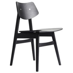 1960 Wood Dining Chair Black Oak, Solid Frame + Plywood, MidCentury Modern Style