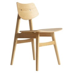 1960 Wood Chair Natural Oak, Solid Frame + Plywood, MidCentury Modern Style