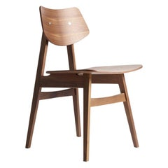 1960 Wood Chair Natural Walnut, Solid Frame + Plywood, MidCentury Modern Style
