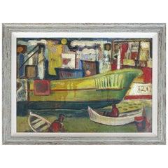 1960 WPA Style Fishing Boatyard Oil Painting