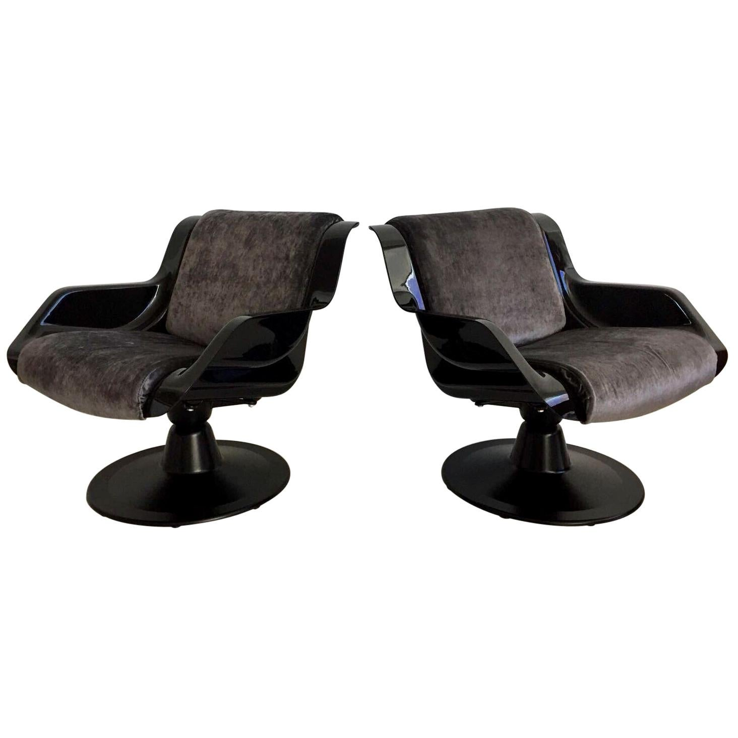 1960 Yrjo Kukkapuro Swivel Lounge Chairs, Model 3814-1KF Dark Grey Velvet