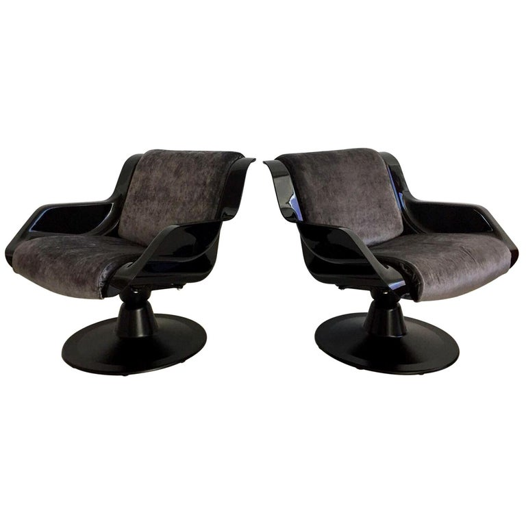 1960 Yrjo Kukkapuro Swivel Lounge Chairs, Model 3814-1KF Dark Grey Velvet For Sale